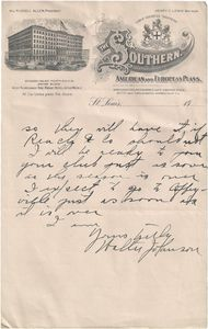 1910 Walter Johnson Handwritten Letter