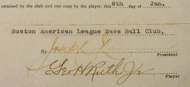 1916 Babe Ruth Signed Contract