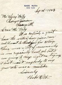 1923 Babe Ruth Handwritten Letter
