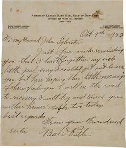 1923 Babe Ruth Handwritten Signed Letter