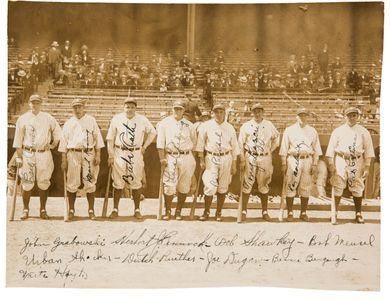 1927 New York Yankees Signed Team Photo with Babe Ruth and Lou Gehrig