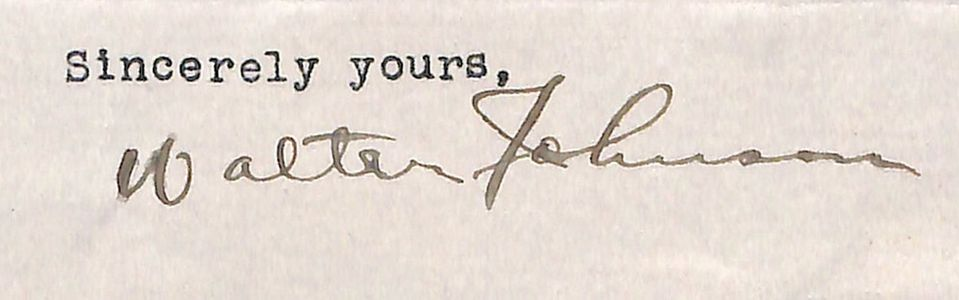 1928 Walter Johnson Signed Letter