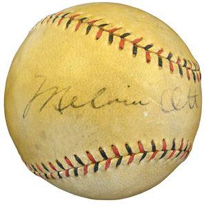 1929 Mel Ott Signed Baseball
