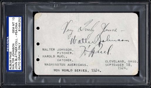 1929 Walter Johnson Signed Autograph Page
