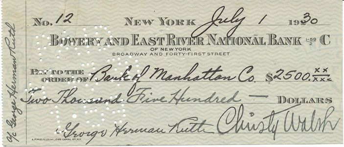 1930 Babe Ruth Signed Check