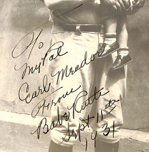 1931 Babe Ruth Signed and Inscribed Photo Closeup