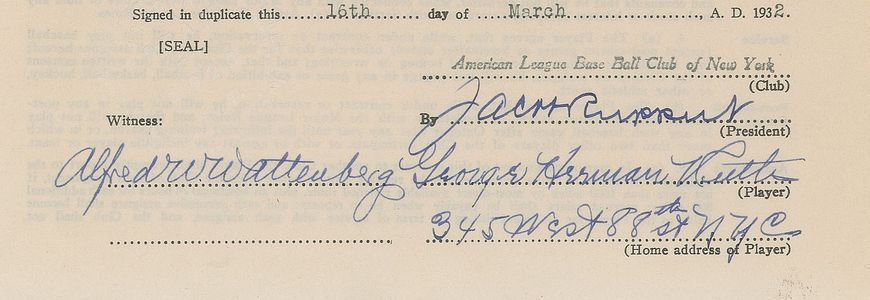 1932 Babe Ruth Signed Contract