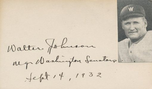 1932 Walter Johnson Signature