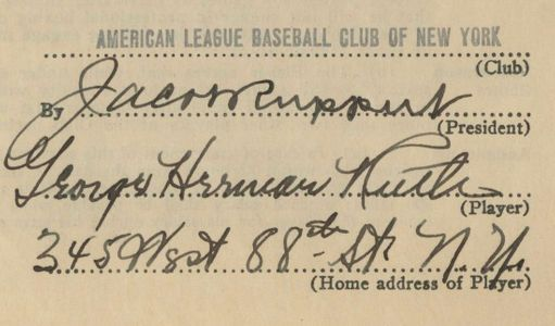 1933 Babe Ruth Signed Contract