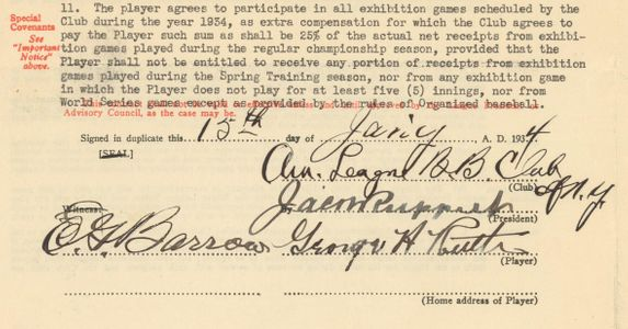 1934 Babe Ruth Signed Contract