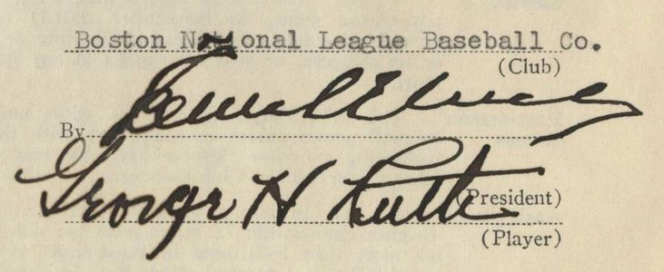 1935 Babe Ruth Boston Braves Contract Signature Page