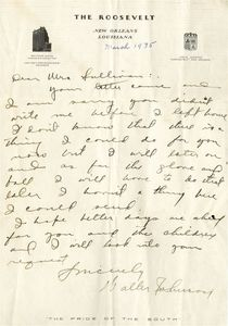 1935 Walter Johnson Handwritten Letter
