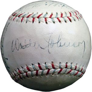 1935 Walter Johnson Signed Baseball
