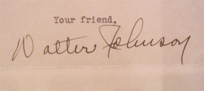 1937 Walter Johnson Signed Letter Closeup