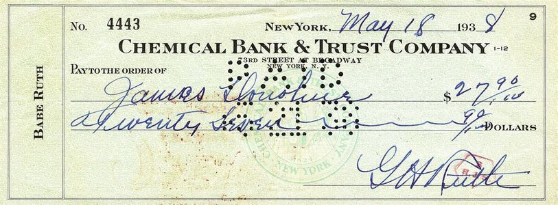 1938 Babe Ruth Signed Check
