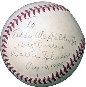 1940 Walter Johnson Signed Baseball
