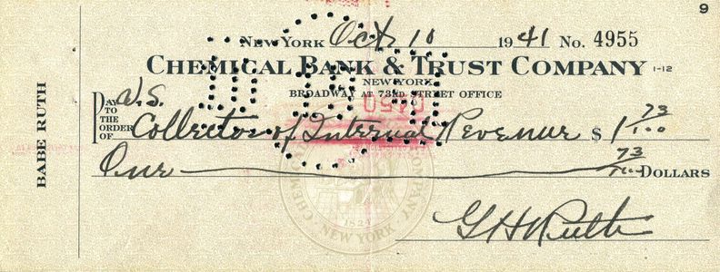 1941 Babe Ruth Signed Check