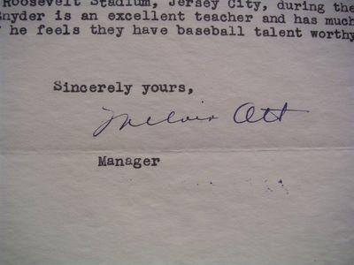 1942 Mel Ott Signed Letter
