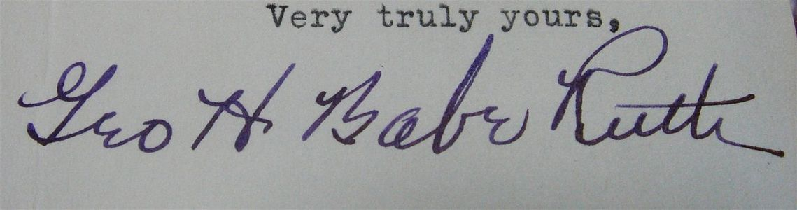 1943 Babe Ruth Signed Letter