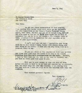 1944 Babe Ruth Signed Document