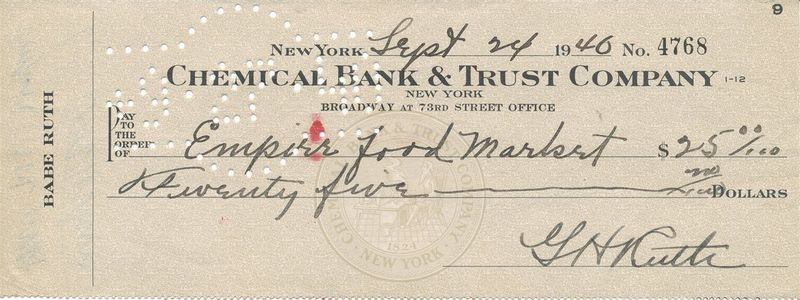 1946 Babe Ruth Signed Check