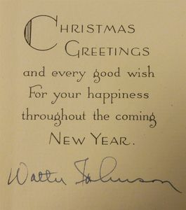 1946 Walter Johnson Signed Christmas Card