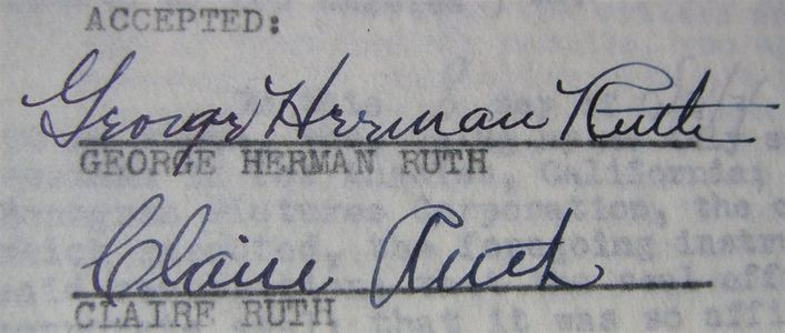 1947 Babe Ruth Signed Contract with Wife