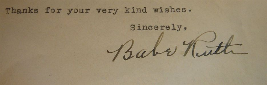 1947 Babe Ruth Signed Letter