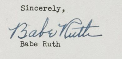 1948 Babe Ruth Farewell Letter