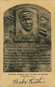 1948 Babe Ruth Signed HOF Plaque