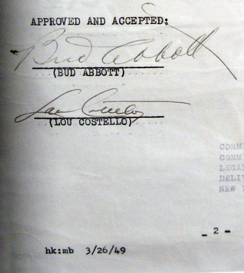1949 Abbott And Costello Signed Agreement