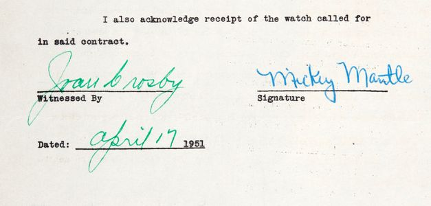 1951 Mickey Mantle Signed Bowman Document Closeup