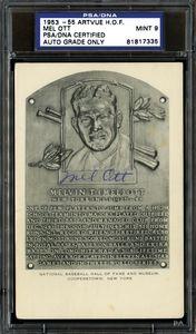 1953-55 Artvue Mel Ott Signed HOF Card