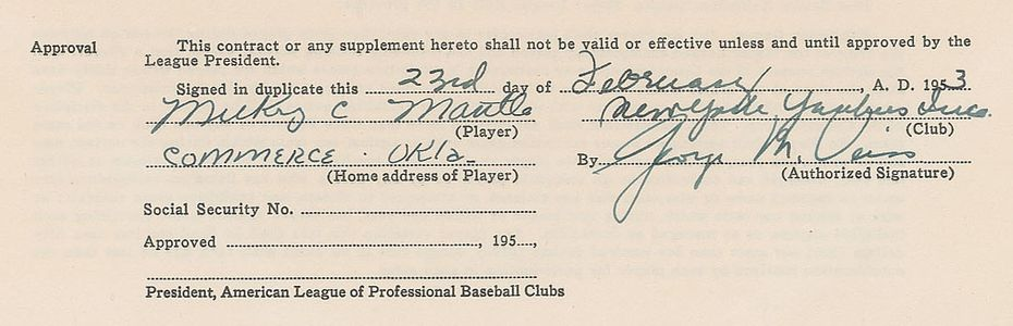 1953 Mickey Mantle Signed Contract