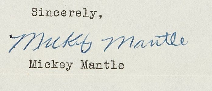 1953 Mickey Mantle Signed Letter