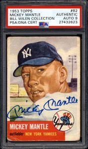 Signed 1953 Topps #82 Mickey Mantle Card