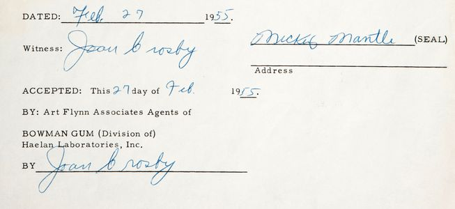 1955 Mickey Mantle Signed Bowman Document Closeup