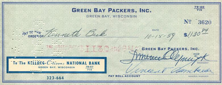 1959 Vince Lombardi Signed Check
