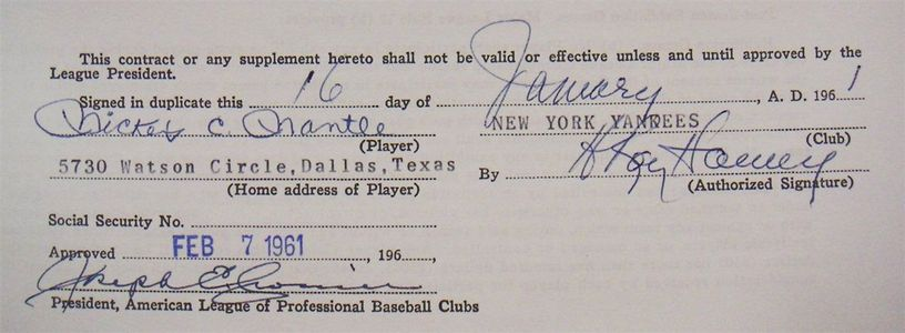 1961 Mickey Mantle Signed Contract