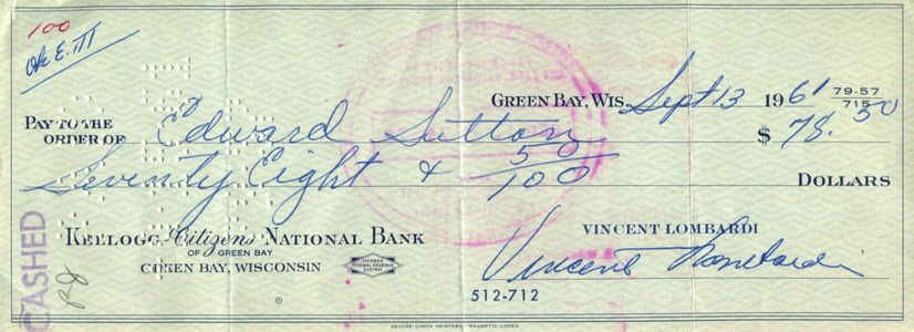 1961 Vince Lombardi Signed Check