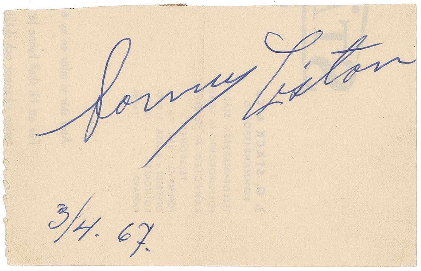 188df16fbe5 Sonny Liston. View Gallery. AUTOGRAPH ...