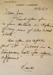 1967 Vince Lombardi Handwritten Letter