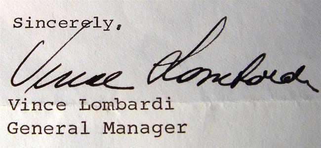1968 Vince Lombardi Signed Letter