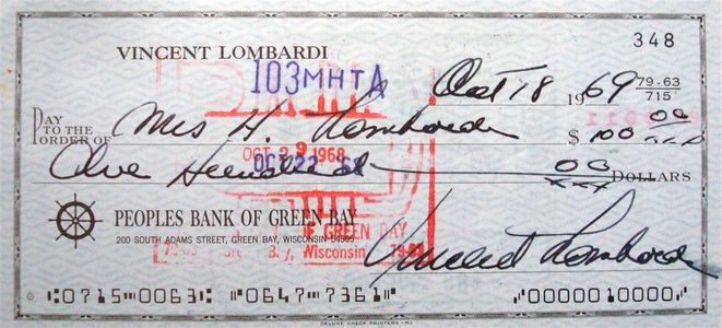 1969 Vince Lombardi Signed Check