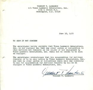1970 Vince Lombardi Signed Document