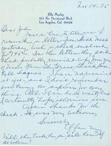 1975 Effa Manley Handwritten Letter