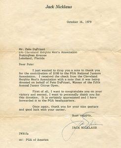 1979 Jack Nicklaus Signed Letter