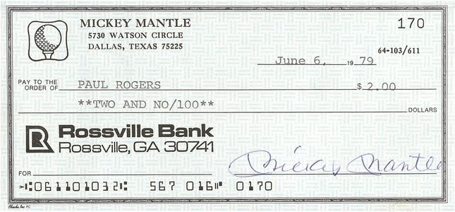 1979 Mickey Mantle Signed Check