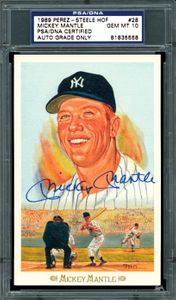 Signed 1989 Perez-Steele #28 Mickey Mantle Card