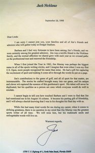 1998 Jack Nicklaus Signed Letter